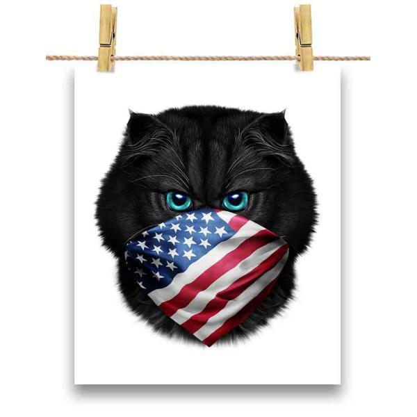【黒猫 ねこ アメリカ 星条旗】ポストカード by Fox Republic