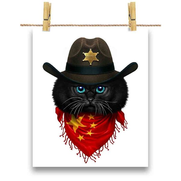 【黒猫 ねこ カウボーイ 中国 バンダナ】ポストカード by Fox Republic