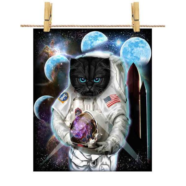 【黒ペルシャ猫 ねこ 宇宙飛行士 宇宙】ポストカード by Fox Republic