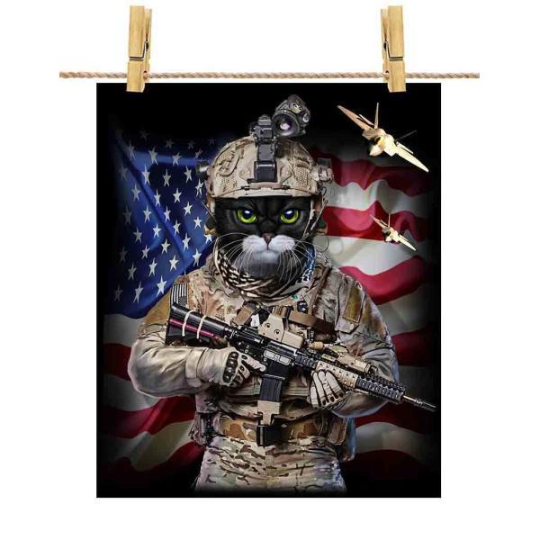 【タキシードキャット猫 ねこ 星条旗 アメリカ 兵士】ポストカード by Fox Republic