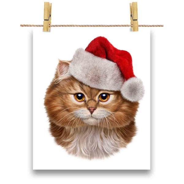 【三毛猫 オレンジ ねこ クリスマス サンタクロース】ポストカード by Fox Republic