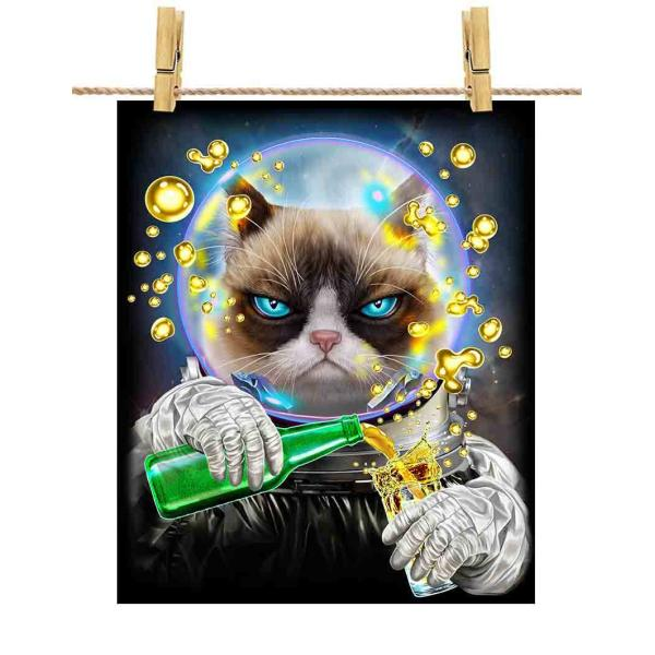 ポストカード ラグドール 猫 ねこ 宇宙 飛行士 銀河系 ジュース 探検 by Fox Republic