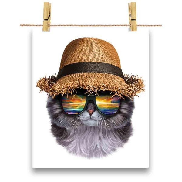 【グレー 猫 ねこ 帽子】ポストカード by Fox Republic