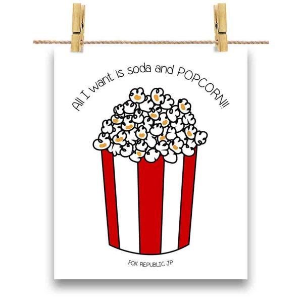 ポストカード 私がほしいのは ソーダ と ポップコーン ! by Fox Republic