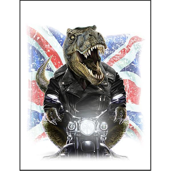 【ティラノザウルス・バイク・ユニオンジャック・イギリス】ポストカード