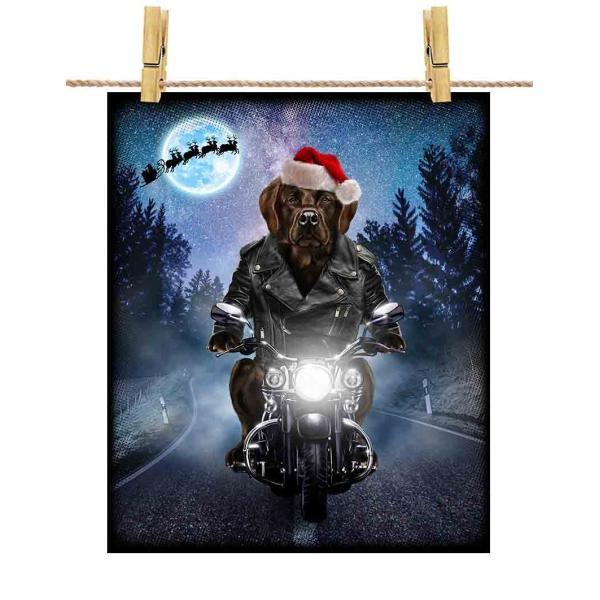 【茶毛 ラブラドルレトリバー ドッグ 犬 いぬ バイク クリスマス サンタクロース】ポストカード by Fox Republic