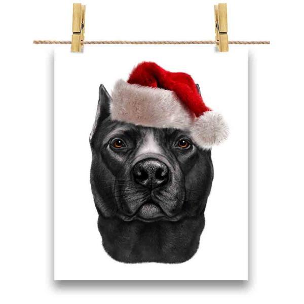 【黒毛のアメリカンピットブル ドッグ 犬 いぬ クリスマス】ポストカード by Fox Republic