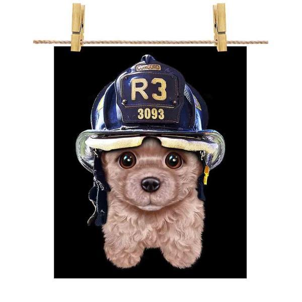 【クリーム色 プードル ドッグ 犬 いぬ 消防士】ポストカード by Fox Republic