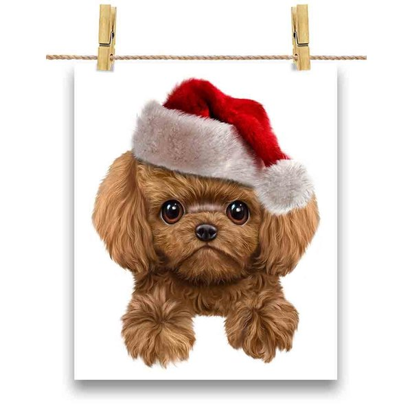 【茶毛 プードル ドッグ 犬 いぬ クリスマス サンタクロース】ポストカード by Fox Republic