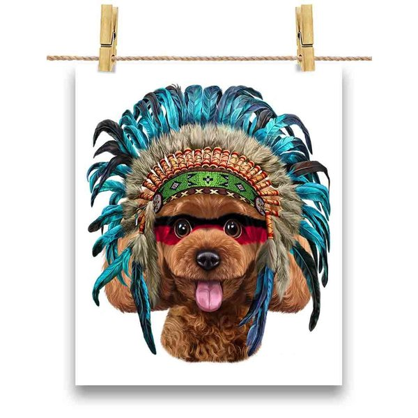 【遊ぶ プードル ドッグ 犬 いぬ インディアン】ポストカード by Fox Republic