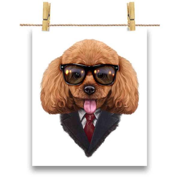 【遊ぶ プードル ドッグ 犬 いぬ スーツ】ポストカード by Fox Republic