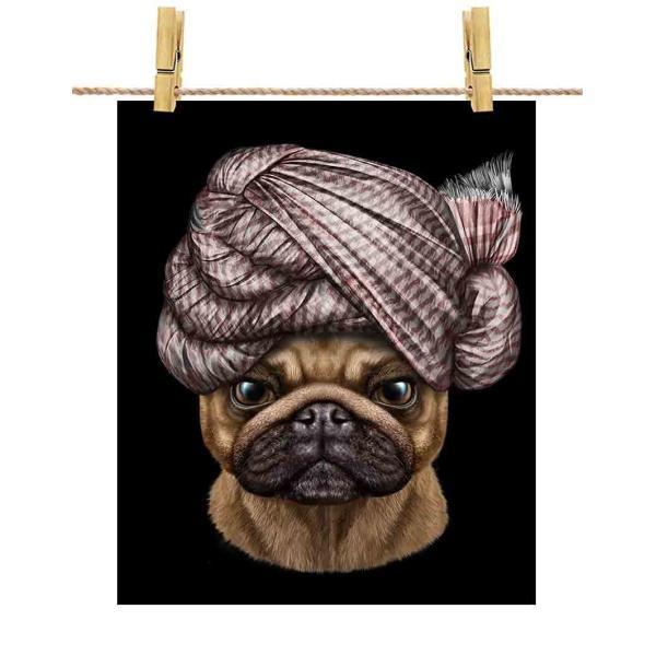 【真顔の パグ ドッグ 犬 いぬ ターバン】ポストカード by Fox Republic