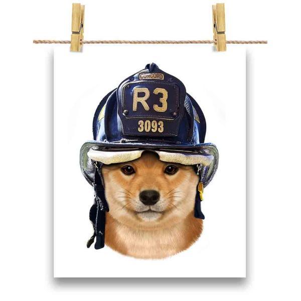 【仔犬の 柴犬 ドッグ 犬 いぬ 消防士】ポストカード by Fox Republic