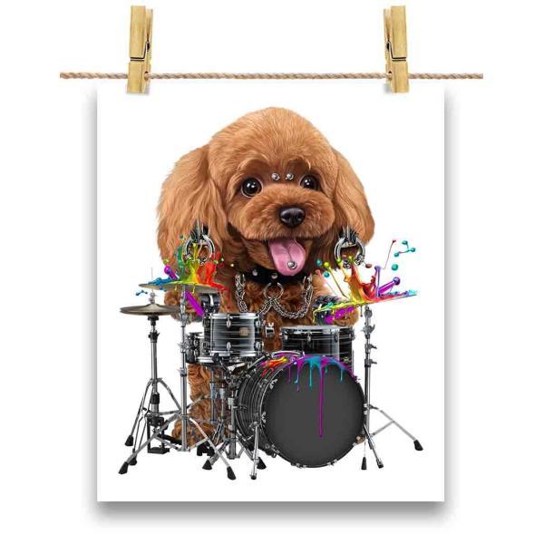 【ドラム をたたく プードル いぬ 犬】ポストカード by Fox Republic
