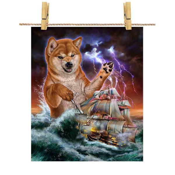 ポストカード 船を襲う 柴犬 しばけん 犬 海 雷 嵐 by Fox Republic
