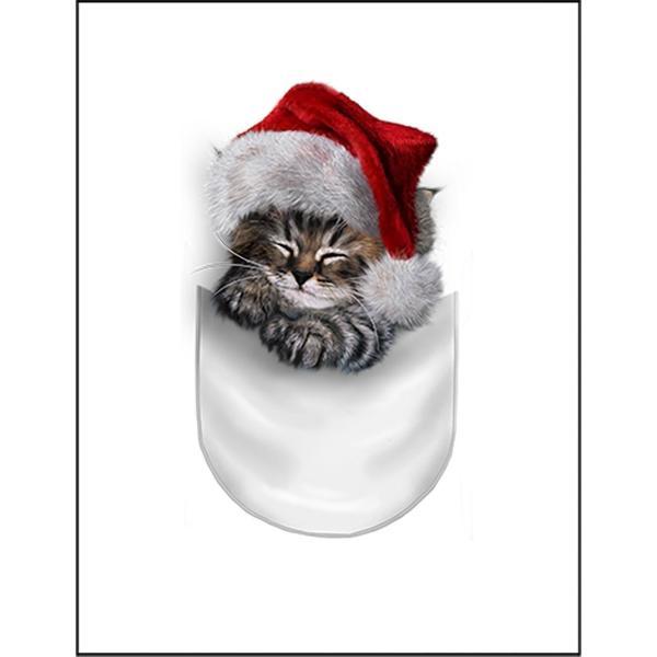 【ポケットで眠るサンタ子猫・しまネコ 】ポストカード