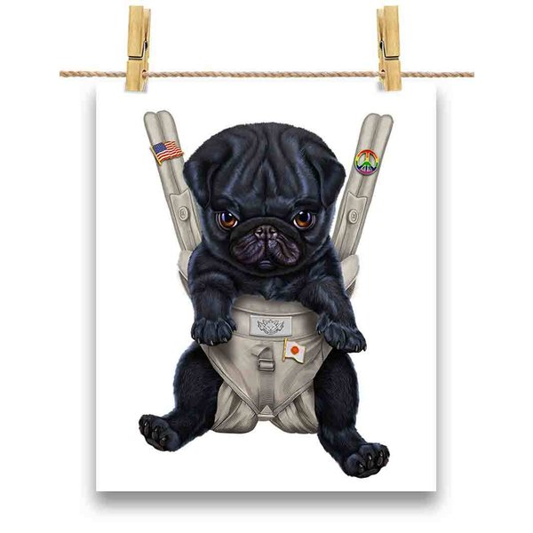 ポストカード 黒毛 パグ  いぬ 犬 抱っこ 抱っこ紐り by Fox Republic