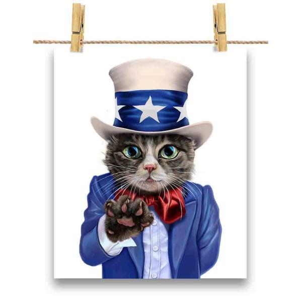 ポストカード アメリカ 星条旗 猫 ねこ アンクルサム by Fox Republic