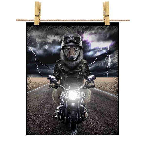 ポストカード 狼 オオカミ バイク ヘルメット by Fox Republic