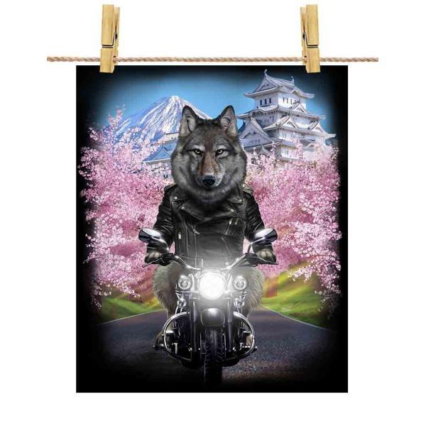 【狼 オオカミ バイク 桜 日本】ポストカード by Fox Republic