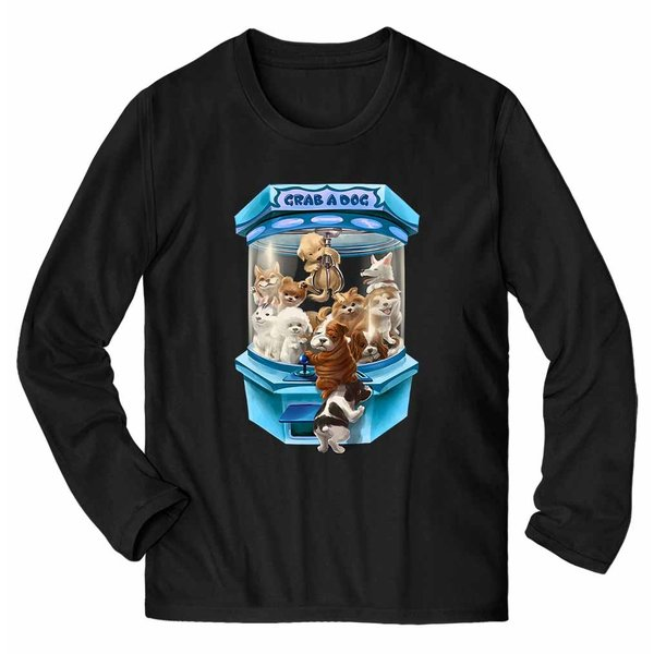 【犬 の クレーンゲーム UFOキャッチャー ゲーム いぬ】メンズ 長袖 Tシャツ by Fox Republic