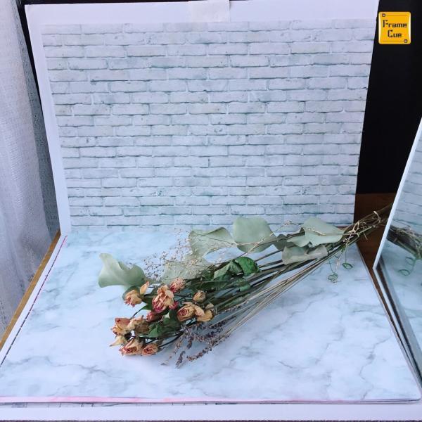 お得10枚入 07大理石パステルAホワイトグレー FrameCue  撮影背景になるペーパーランチョンマット  A3サイズ背景紙