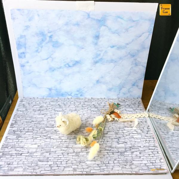 お得10枚入 07大理石パステルBブルー  FrameCue  撮影背景になるペーパーランチョンマット  A3サイズ背景紙