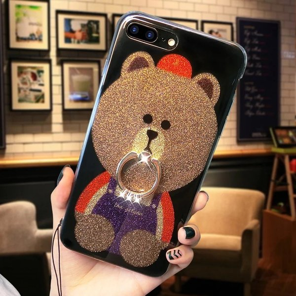 iPhone XR ケース カバー  iphoneXs Max iPhone XR iphoneXiphone7 8 iphone6sスマホケース カバー 熊リング付きアイフォンケース 携帯ケース|francekids|07