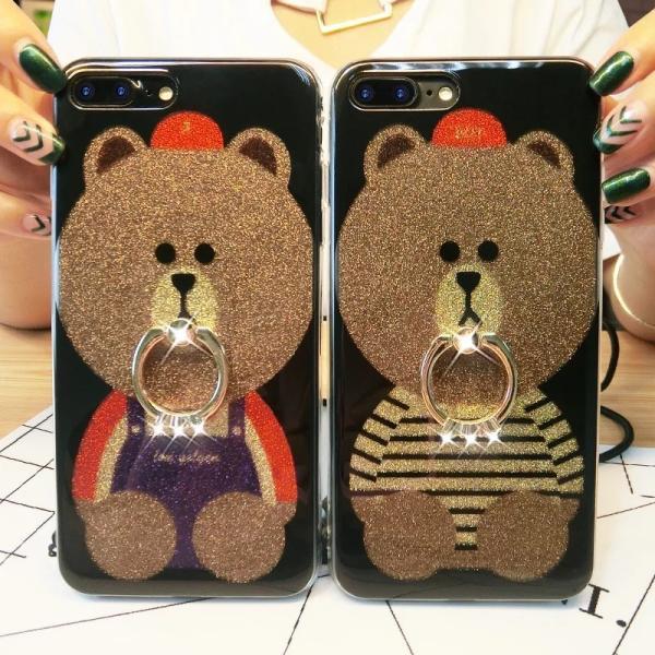 iPhone XR ケース カバー  iphoneXs Max iPhone XR iphoneXiphone7 8 iphone6sスマホケース カバー 熊リング付きアイフォンケース 携帯ケース|francekids|08