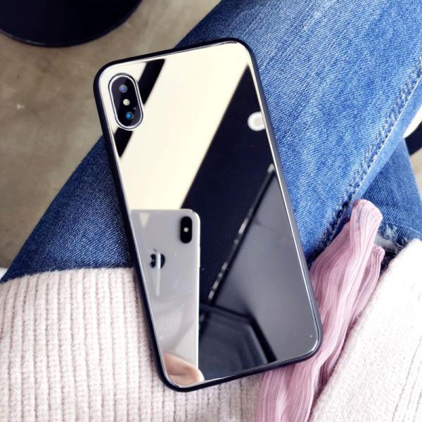 アイフォンケース iPhoneケース ハート ミラー 鏡面加工 光沢 黒縁 ブラック iPhoneX iPhone8 iPhone7 iPhone6 iPhone6plus 高級感 スマホケース  送料無料|francekids|03