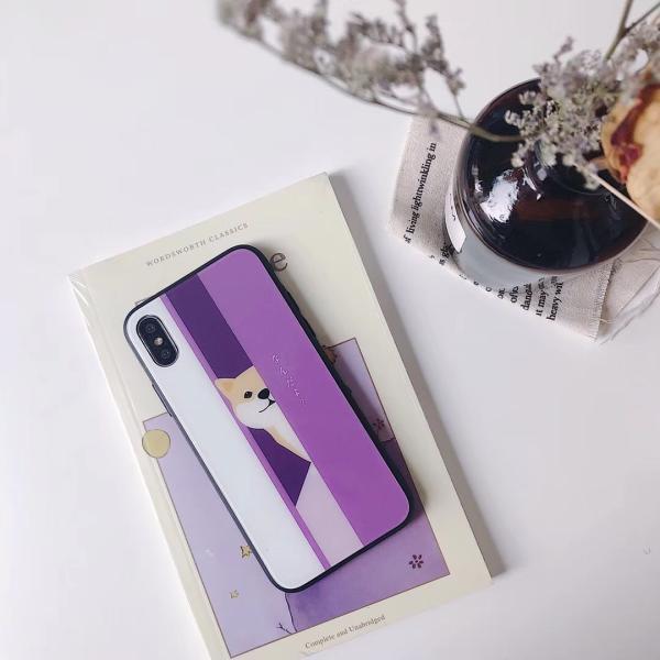 iphonexr ケース iphone7plusカバー 人気 可愛い キラキラ iPhoneX 背面ガラス iPhoneケース 耐衝撃 軽量 犬 柴 おしゃれ 送料無料 francekids 04