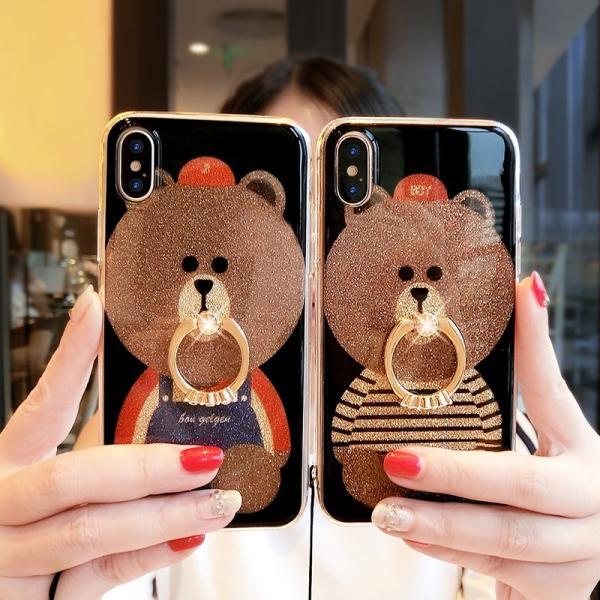64378cb7ac ... iPhone XR ケース カバー iPhoneXs Max iphoneX iphone7 8 iphone6sスマホケース カバー  熊リング付きアイフォン ...