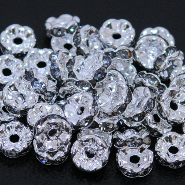 波ロンデル ブラックダイヤモンド 5mm 6mm 7mm 8mm 10個セット ラインストーン【パワーストーン ゴールドorシルバーパーツ】 【メール便対応】┃