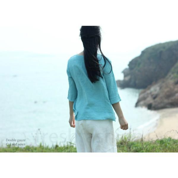 ダブルガーゼ カットソー Tシャツ レディース コットン100% 七分袖 7色 M トップス ホワイト 白 大人気 新品 定番|freshfashion|05