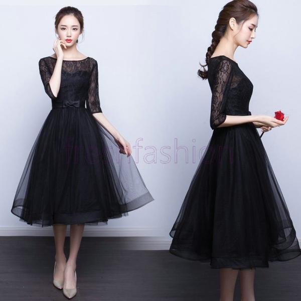 パーティードレス ロングドレス 結婚式 ドレス ワンピース 袖あり 二次会 ドレス ウエディングドレス フォーマルドレス お呼ばれ ミモレドレス 大きいサイズ|freshfashion