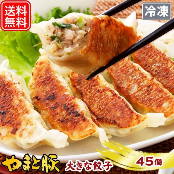 やまと豚 大きな肉餃子 45個 | [冷凍] 送料無料 お中元 2021 御中元 取り寄せ 冷凍餃子 餃子 お取り寄せグルメ ギフト 食べ物 食品 中華 おつまみ 肉 プレゼント