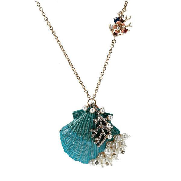ベッツィージョンソン ネックレス Betsey Johnson Seashell Pendant Necklace (Blue) シーシェル ペンダント ネックレス (ブルー)