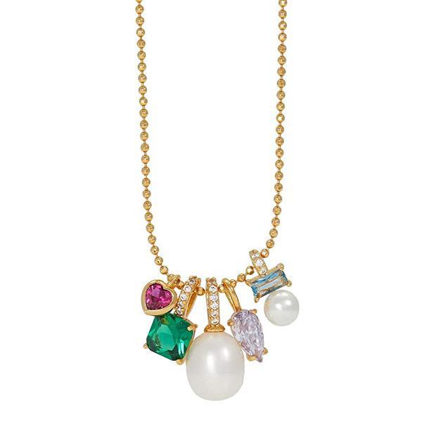 ケイトスペード ネックレス Kate Spade ● Multi-Crystal & Imitation Pearl Multi-Charm Pendant Necklace マルチ チャーム ペンダント ネックレス