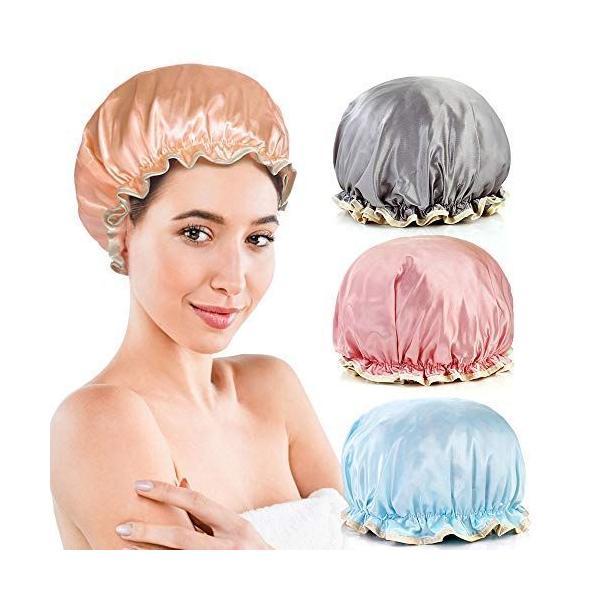 シャワーキャップ防水フリーサイズ4色4枚セットヘアキャップお風呂入浴温泉用繰り返し利用