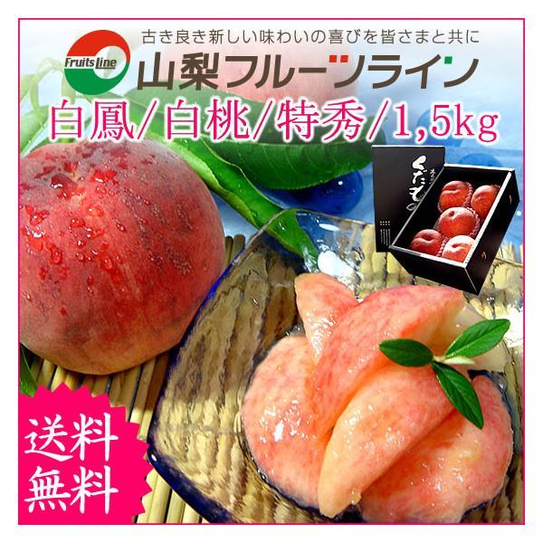 お中元 ギフト 桃 モモ もも 山梨県産 特産品 白鳳 白桃 甲斐黄金桃 特秀 1.5kg 送料無料 一部地域を除く fruits-line