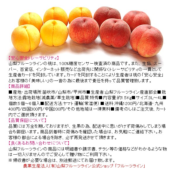 お中元 ギフト 桃 モモ もも 山梨県産 特産品 白鳳 白桃 甲斐黄金桃 特秀 1.5kg 送料無料 一部地域を除く fruits-line 02