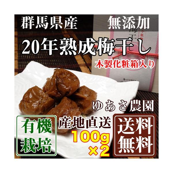二十年熟成梅干し(木製化粧箱入り) 100g×2箱 (群馬県 ゆあさ農園)有機栽培 梅 無添加 天然塩 使用 産地直送