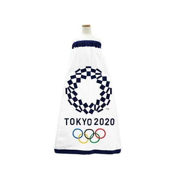 東京2020オリンピックエンブレム、着替え用、巻きタオル「スナップ付きラップタオル」100cm丈