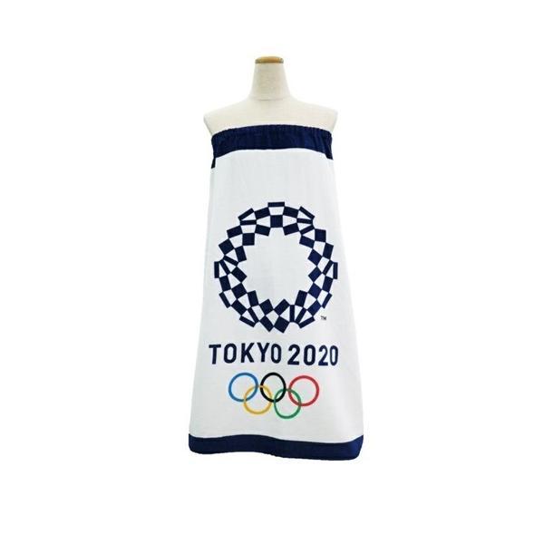 東京2020オリンピックエンブレム、着替え用、巻きタオル「スナップ付きラップタオル」80cm丈