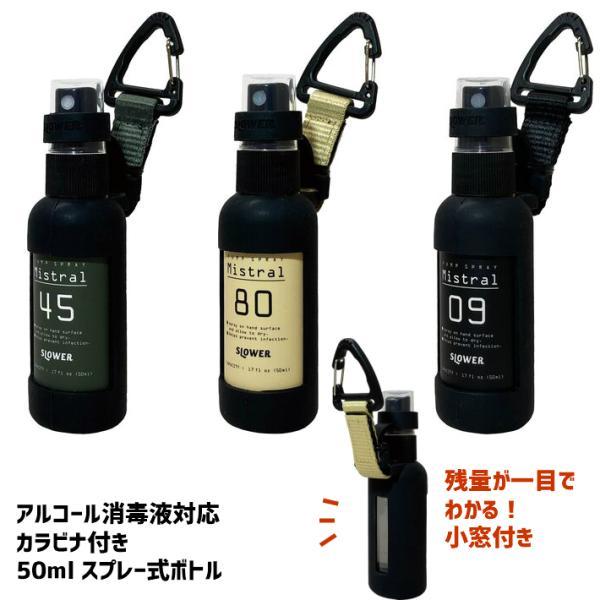 スプレーボトル 50ml アルコール対応 おしゃれ 家族 カラビナ付き PUMP SPRAY BOTTLE Mistral SLOWER|ftk-2
