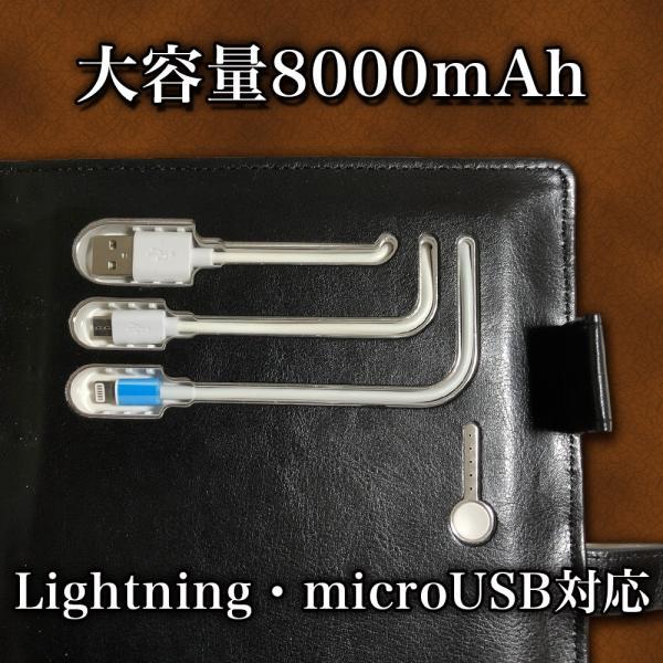 充電できるシステム手帳ELENOA(エレノア)Ver.2.0/モバイルバッテリー(8000mAh)・USBメモリー(32GB) 内蔵/ワイヤレス充電可 (ブラウン)|fttrade-store|04