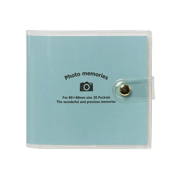 アルバム ナカバヤシ ましかく写真用 カバーポケットアルバム 89×89mm Lスクエア(LS判)20枚収納 アカ-PV89-201-1 アクアブルー