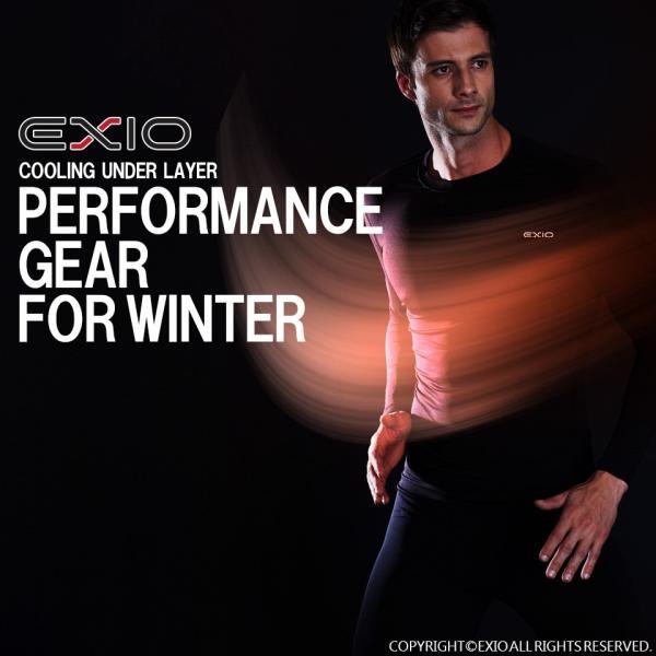 防寒インナー アンダーシャツ 長袖 丸首 ハイネック 防寒 ロングタイツ メンズ 上下セット 防寒着 アンダーウェア コンプレッションウェア EXIO エクシオ|fuerzajapan|02