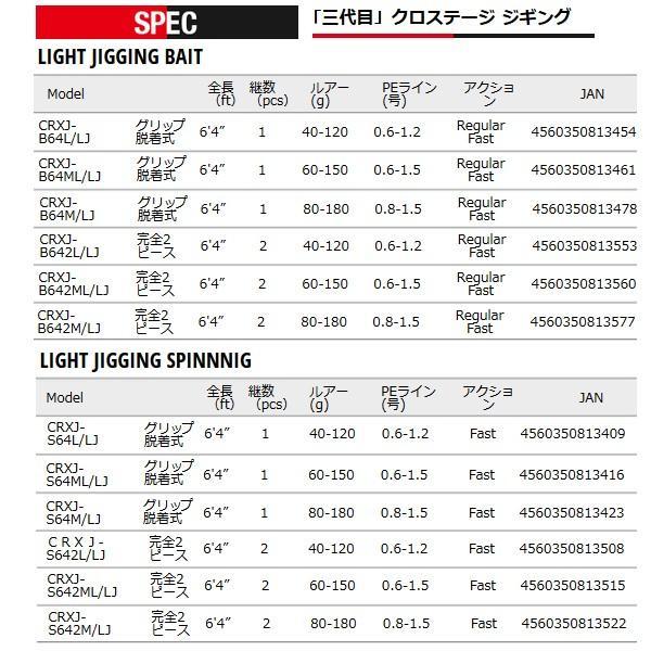 メジャークラフト   「三代目」クロステージ ライトジギング  CRXJ-B642L/LJ  ロッド  ソルト