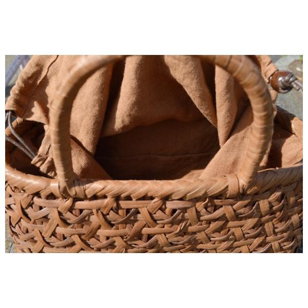 山葡萄手提げ籠バッグ 〓 菊花編み 〓 巾着と中布付き 〓 (約)幅32cmx高さ25cmx奥行12cm 〓 2018新商品